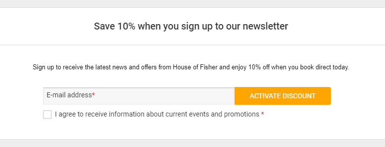 10 percent discount at house of fisher newsletter